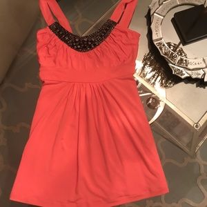 Tart Brand NWOT Coral Embellished Top Size Small